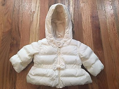 Baby Gap Ivory Puffer Bow Coat Size 0-6 months GREAT Condition!