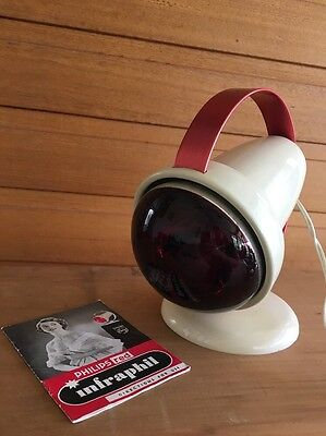 Vintage Retro Philips Red Infraphil Infrared Heat Lamp With Booklet