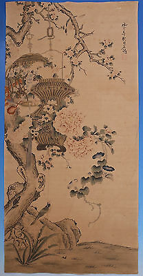 Large Old Chinese Flowers Scroll Hand Painting Marked ShiTao WJ761