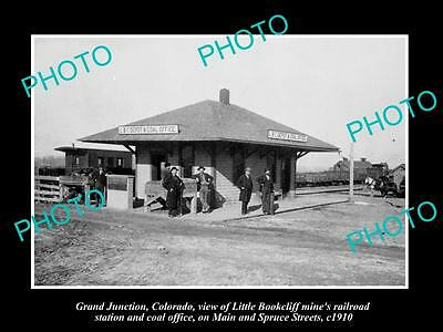 Old Large Historic Photo Of Grand Juction Colorado, Mine Railroad Depot 1910