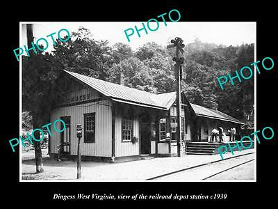 OLD LARGE HISTORIC PHOTO OF DINGESS WEST VIRGINIA, THE RAILROAD STATION c1930