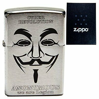 NEW Zippo 200 Anonymous Guy Forks Hacktivist Mask Original Stamp V for Vendetta