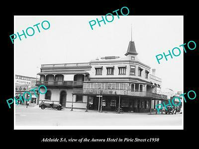 OLD LARGE HISTORIC PHOTO OF ADELAIDE SA, THE AURORA HOTEL ON PIRIE St c1930