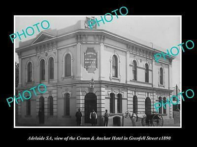 OLD LARGE HISTORIC PHOTO OF ADELAIDE SA, CROWN & ANCHOR HOTEL, GRENFELL St c1890