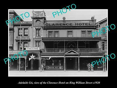 OLD LARGE HISTORIC PHOTO OF ADELAIDE SA, CLARENCE HOTEL ON K/WILLIAMS St c1920