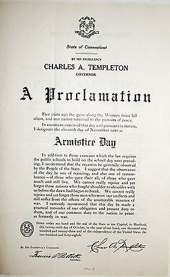 Military Broadside Armistice Day 1924 Proclamation Govenor Of Connecticut Great