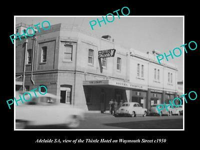 OLD LARGE HISTORIC PHOTO OF ADELAIDE SA, THE THISTLE HOTEL, WAYMOUTH St c1950