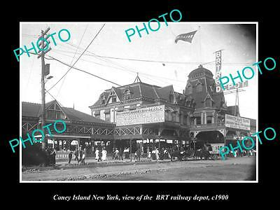 OLD LARGE HISTORIC PHOTO OF CONEY ISLAND NEW YORK, THE BRT RAILROAD DEPOT c1900