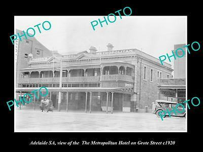 OLD LARGE HISTORIC PHOTO OF ADELAIDE SA, THE METROPOLITAN HOTEL ON GROTE St 1920