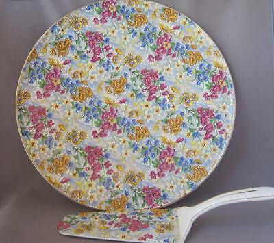 Very Nice Vintage Sussex Phila Cheery Chintz Germany Cake Platter and Server