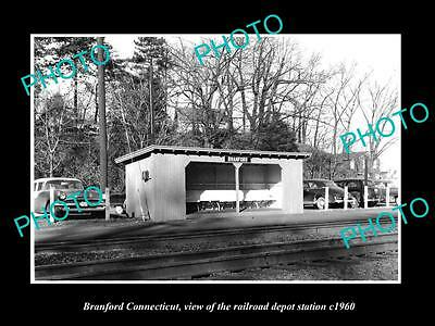 OLD LARGE HISTORIC PHOTO OF BRANFORD CONNECTICUT, THE RAILROAD STATION c1960