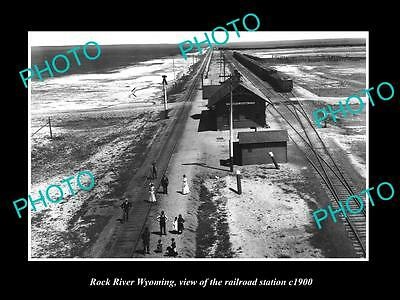 OLD LARGE HISTORIC PHOTO OF ROCK RIVER WYOMING, THE RAILROAD DEPOT STATION c1900