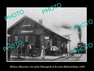OLD LARGE HISTORIC PHOTO OF BELVIEW MINNESOTA VIEW OF THE RAILROAD STATION c1910