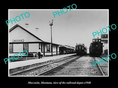 OLD LARGE HISTORIC PHOTO OF MOCCASIN MONTANA, THE RAILROAD DEPOT STATION c1940