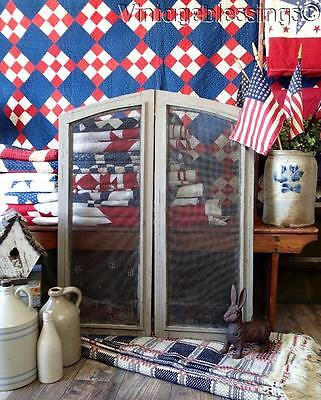 Primitive Milk Paint EARLY Antique Screen Arched Shutters Architectural
