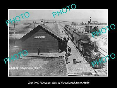 OLD LARGE HISTORIC PHOTO OF STANFORD MONTANA, THE RAILROAD DEPOT STATION c1920