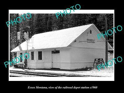 OLD LARGE HISTORIC PHOTO OF ESSEX MONTANA, THE RAILROAD DEPOT STATION c1960