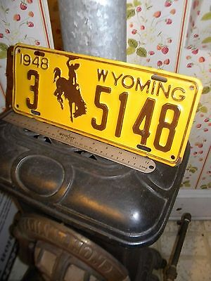 1948 WYOMING Plate.. Old Vintage & ORIGINAL Tag # 5148.. NO Reserve