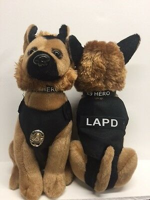 LAPD Los Angeles Police K9 German Shepard Dog with mini Badge and Police Vest