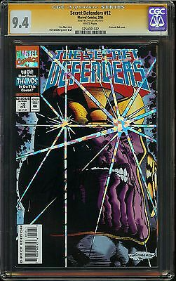 Secret Defenders #12 CGC 9.4 NM SIGNED STAN LEE Marvel Thanos Infinity War Marz