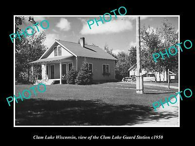 Old Large Historic Photo Of Calm Lake Wisconsin, View Of The Ranger Station 1950