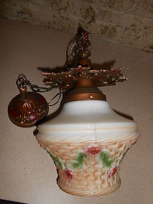Painted Roses on Glass Basket Ceiling Light Polychrome Metal Pendant Fixture