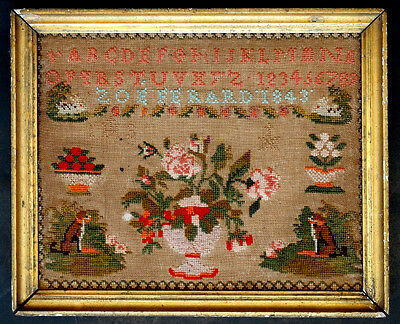 1843 Antique ZOE FERARD Needlepoint FOLK ART SAMPLER w/ DOG & RABBIT & ROSES