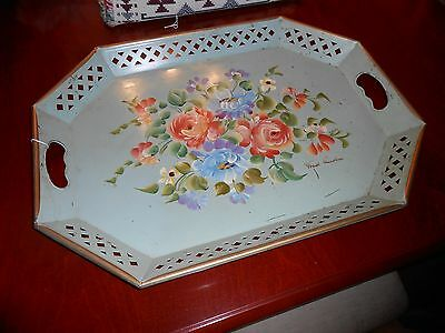 Vtg Nashco Green Handpainted Floral Toleware Tray Signed Fred Austin Large