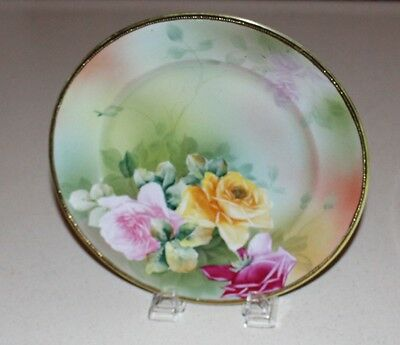 """Beautiful Hand Painted Roses, Nippon Plate with gold beaded trim / edges 10"""" dia"""
