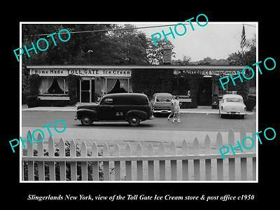 OLD LARGE HISTORIC PHOTO OF SLINGERLANDS NEW YORK, THE ICE CREAM STORE c1950