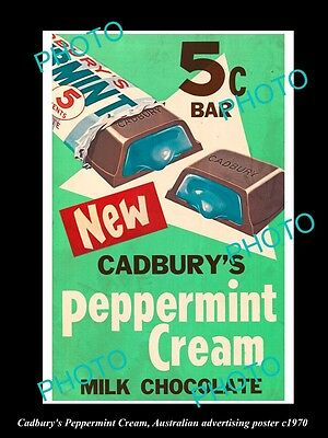 OLD LARGE PHOTO OF CADBURY PEPPERMINT CREAM CHOCOLATE ADVERTISNG POSTER c1970