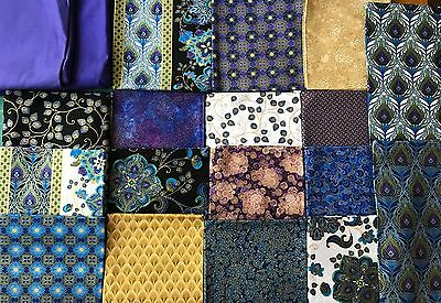 17 Fat Quarters +2.5m Fabric Total 6.5m Quilting Cotton Blue Purple Shimmer Gold