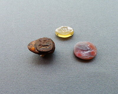 Antique War ship & Pegasus Roman type intaglio jewelry Bead and Ring setting Lot