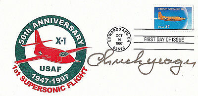 Test Pilot Bell X-1 Chuck Yeager Signed 50th Anniversary Cover/Mail Edwards AFB