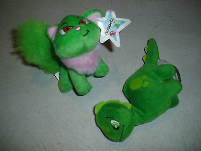 2 X Macdonalds Neopets Happy Meals Toys Green Wocky Dinosaur 2004