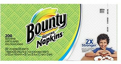 Bounty Paper Napkins, White, 200 Count (Pack Of 12)