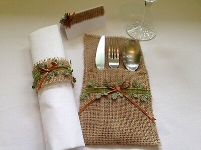 woodland & copper wedding 10 place set - napkin ring, cutlery holder,place card
