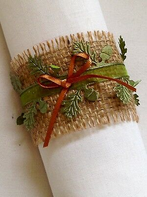 woodland and copper natural hessian wedding napkin rings set of 10