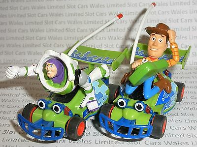 MICRO Scalextric - Pair of Toy Story Woody and Buzz Lightyear Cars - Exc. Cdn.