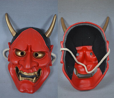 Noh Hannya Resin Mask Evil Demon Devil Horned Horror Red Halloween Props
