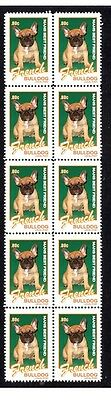 French Bulldog Mans Friend Strip Of 10 Mint Stamps #4