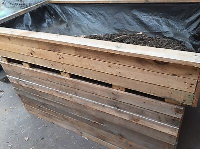 Large Wooden Crate Raised Garden Beds Planter Box Herbs Vegetables Two Sections