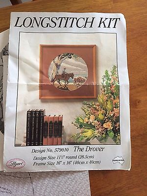 Myart longstitch kit The Drover - started inc yarns, canvas, and charts