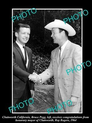 Old Large Historic Photo Of Cowboy Roy Rogers With Chatsworth Mayor 1964