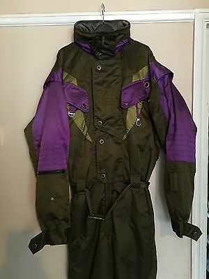 Vintage Nevica Onesie Snow/ski Suit - 40M - Green With Purple Trim-Vgc-Retro