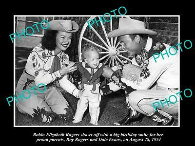 Old Historic Photo Of Cowboy Roy Rogers & Dale Evans On Daughters Birthday 1951