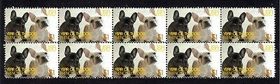 French Bulldog Strip Of 10 Mint Year Of Dog Stamps 3