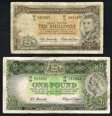 1961 AUSTRALIAN..10 SHILLING and 1961 ONE POUND PREDECIMAL NOTES..GOING CHEAP.