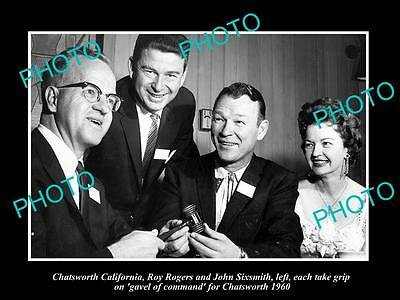 OLD LARGE HISTORIC PHOTO OF COWBOY ROY ROGERS WITH GAVEL OF CHATSWORTH c1960