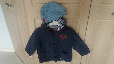 Boys Girls Next Navy Fleece Jacket Winter Duffle Coat Age 3-4Y + Blue Beanie Hat